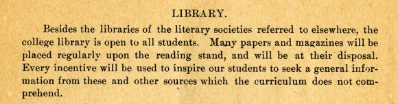 A description of the library from the 1895 course catalog
