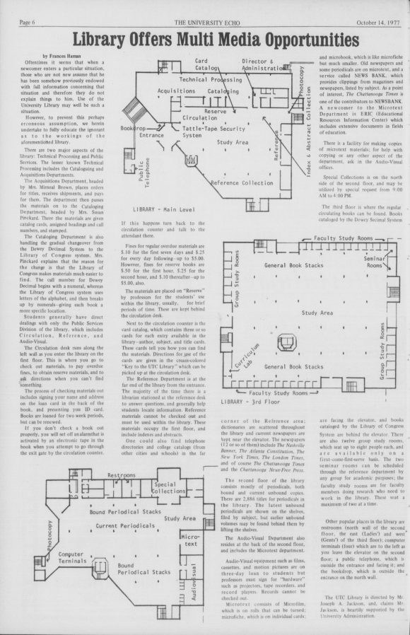 A page from the 1977 University Echo describing the features of the University Library