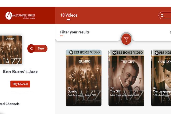 ken burns jazz documentary landing page