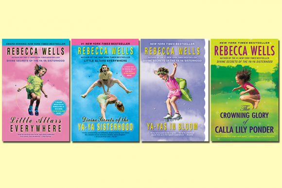 Cover Images of Rebecca Wells' 4 novels on a pale yellow background