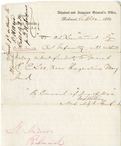 Military order instructing Garnett Andrews to report to General Robert E. Lee in Hagerstown, Maryland.