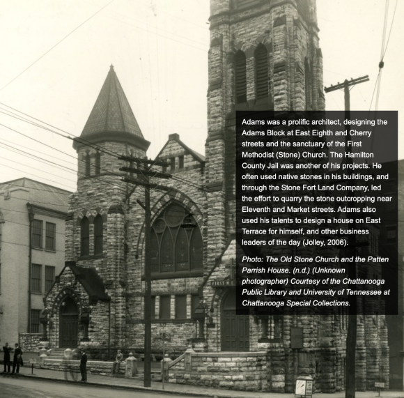 Photograph of the Old Stone Church and the Patten Parrish House.