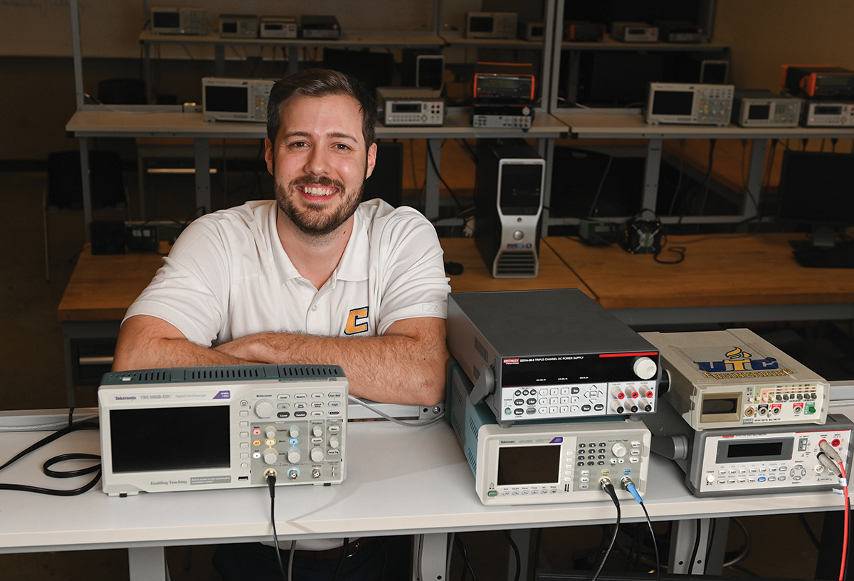 Mark Merritt sits in an electrical engineering lab Thursday, Feb. 6, 2020 in the EMCS.