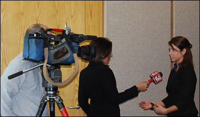 WRCB Eyewitness News reporter Lauren Brown interviews Andrea Bart