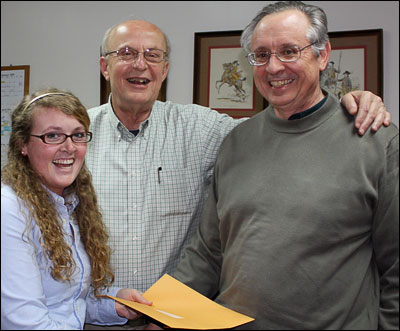 UTC history professors Dr. Jim Ward and Dr. Mike Russell present Mary Meaghan Kelly with a certificate of award for the 2009 Tennessee Chapter National Colonial Dames Association graduate school scholarship.