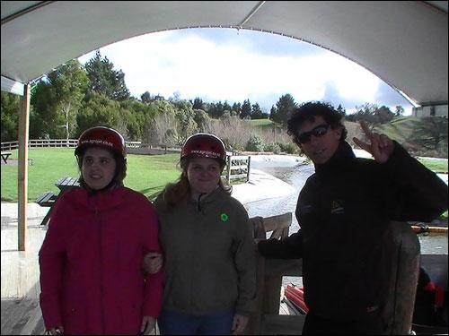 students Amanda Jones and Gemma Appeldoorn with extreme jet boat operator.