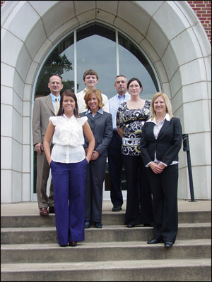 Pictured from left: (front row) Cortney Edmonson, President of Beta Alpha Psi; Becky Fingerle, Owner, HLB; Suzy Anthony, Manager, HLB; and Dr. Melanie McCoskey, Brice L. Holland Associate Professor of Accounting and faculty advisor to Beta Alpha Psi. (back row) Dr. Stan Davis, Accounting Department Head; Patrick Greer, Vice President of Beta Alpha Psi; and Troy Fairley, manager, HLB.