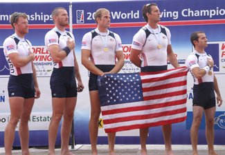 Beery with teammates at World Rowing Championship