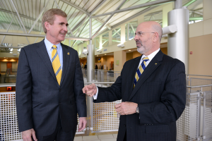 Candid photo of Dr. Steve Angle with UT President, Joe DiPietro
