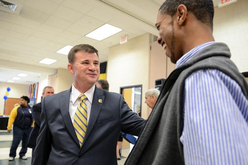 David Blackburn shares a laugh with SGA President-Elect Robert Fisher