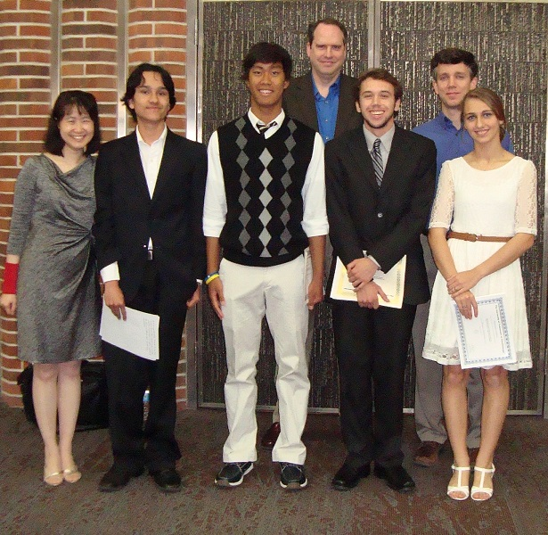 Left to right: Sin-Hsing Tsai (non-voting chair), Nicholas Lobo (honorable mention), Dean Antonio Magat (honorable mention), Alan Nichols (judge), Joseph Schutz (1st prize), Jason DuRoy (judge), Abigail Hinchman (3rd prize) Not pictured: Erica Cyrul (2nd prize) [did not attend award ceremony]
