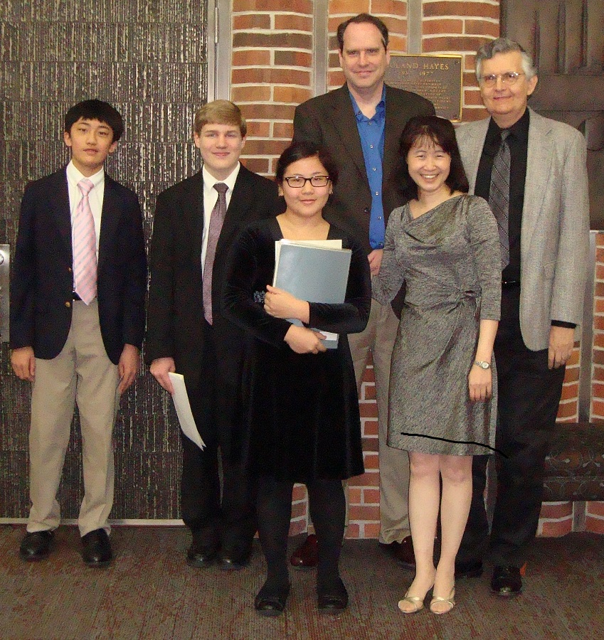 Students, left to right: Allen Liu (3rd prize), Chad Miller (honorable mention), Sophia Guan (2nd prize) Not pictured:Margaret Lim (1st prize) [did not submit release] Judges, short to tall: Sin-Hsing Tsai (non-voting chair), David Walters, Alan Nichols