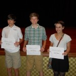 In the middle school category, winners from left:  Ian Smith, Peyton Gwaltney, Madison Headrick