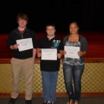 In the 9th and 10th grade level, winners from left:  Joel Westbrook, Daniel Hammer, Chelsea Johnson