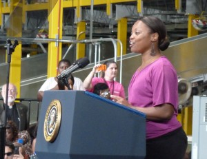 Alumna Lydia Flanders Introduces President Obama