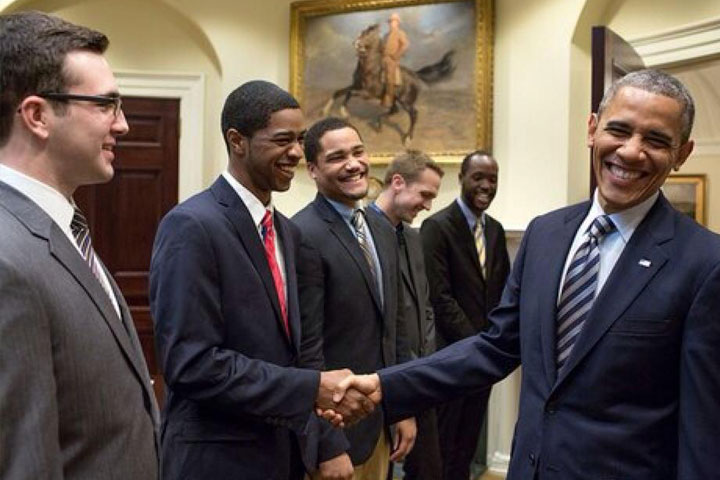 UTC student Robert Fisher shakes hands with President Barack Obama