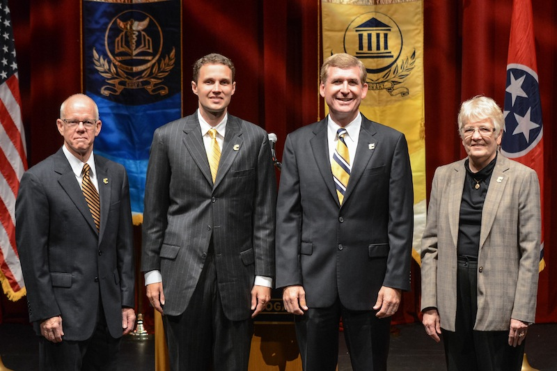 Speakers for Convocation 2013 included Provost Gerald Ainsworth, Will Wade, Chancellor Steve Angle, Dr. Verbie Prevost, George Connor Professor of American Literature