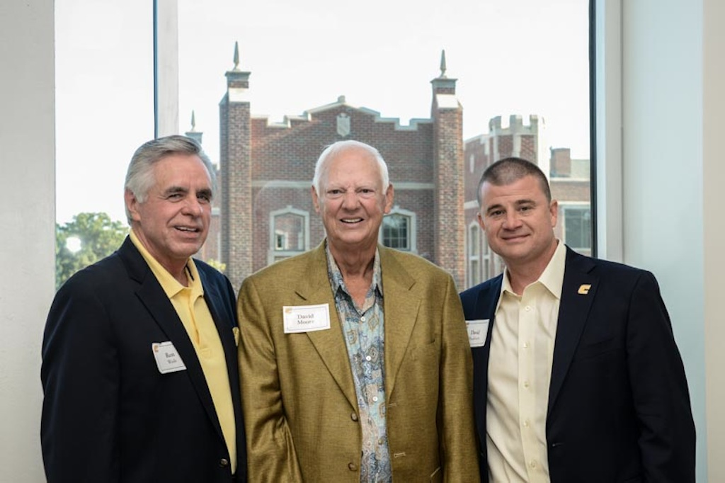 Ron Wade, Co-Chair of the Chamberlain Pavilion Dedication Planning Committee, David Moore,  son of Scrappy Moore, legendary Chattanooga football coach; David Blackburn, Vice Chancellor and Director of Athletics at UTC