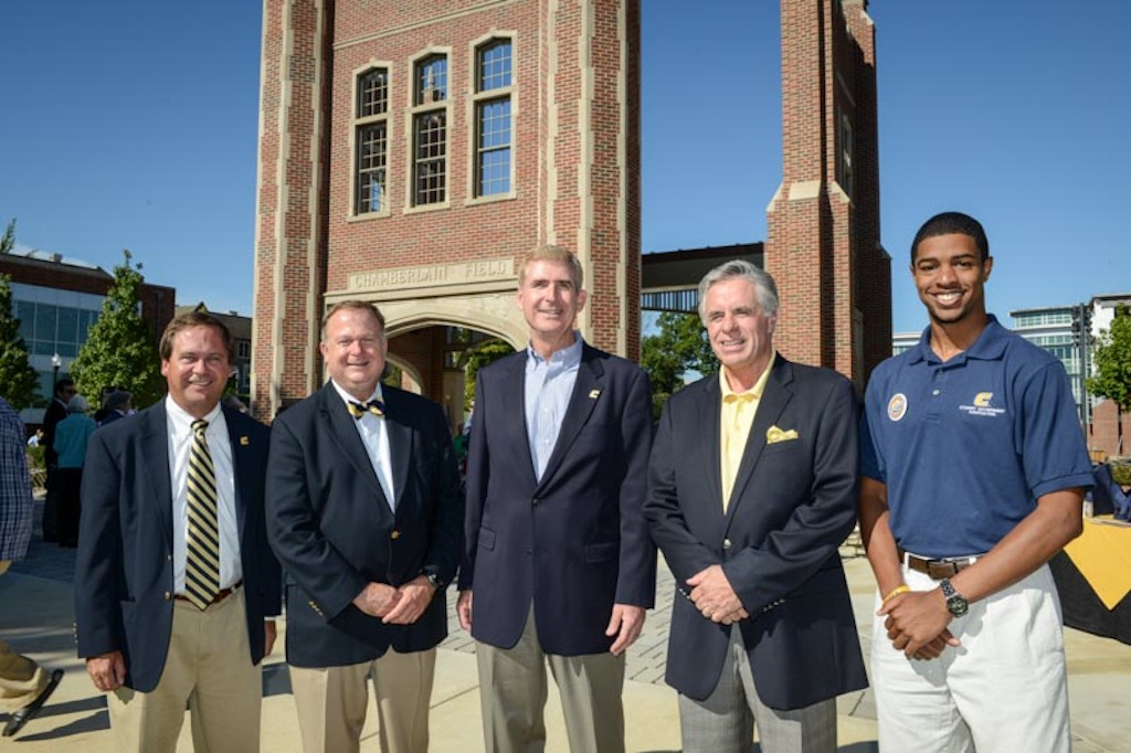 Speakers  Michael Griffin, President, UTC Alumni Board of Directors; Lofton Stuart, executive director of the University of Tennessee National Alumni Association; UTC Chancellor Steve Angle; Ron Wade, Co-Chair of the Chamberlain Pavilion Dedication Planning Committee;  Robert Fisher, president, UTC Student Government Association