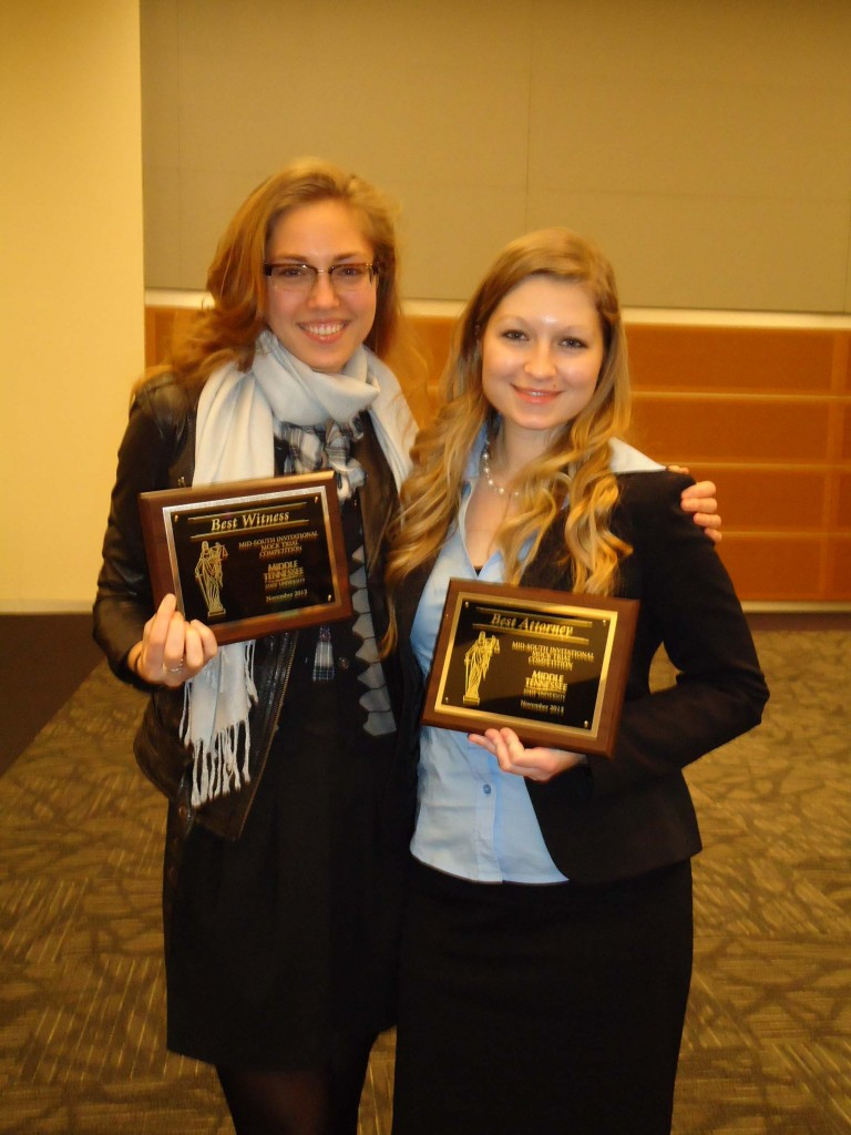 Student Adrianna Eder (left) won the Best Witness award and Stephanie Fast (right)  won the Best Attorney award.