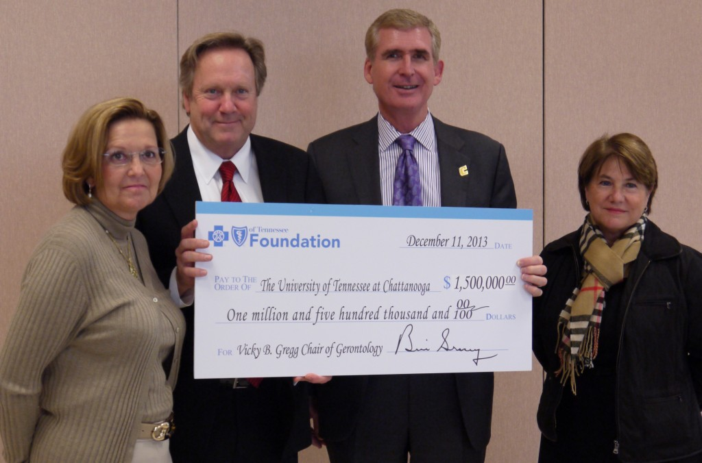 from left, Vicky B. Gregg;  Bill Gracey, President and CEO of BlueCross BlueShield of Tennessee; UTC Chancellor Steven Angle; Dr. Chris Smith, Interim Director, UTC School of Nursing