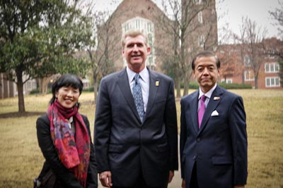 From left to right: Asami Nakano, the UTC Japan Outreach Coordinator; Dr. Steve Angle, and Motohiko Kato, Consul-General of Japan in Nashville