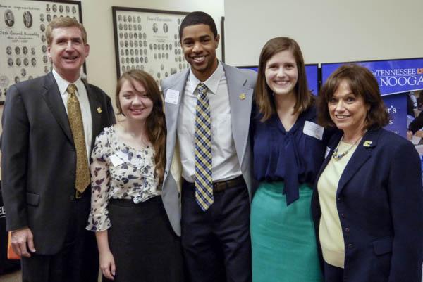 left to right: UTC Chancellor Steve Angle, Heather Murray, UTC SGA President Robert Fisher, Abby Kinnard, and Director of UTC Office of Alumni Affairs Jayne Holder
