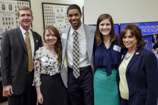 left to right: UTC Chancellor Steve Angle, Heather Murray, UTC SGA President Robert Fisher, Abby Kinnard, and Director of UTC Office of Alumni Affairs Jayne Holder