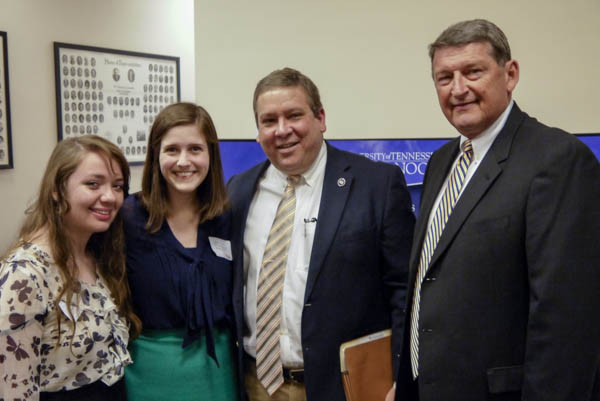 left to right: Heather Murray, a freshman from Dickson, Tennessee; Abby Kinnard, a freshman from Spring Hill; Tennessee, Rep. Gerald McCormick; and Tom Losh, UTC alumnus and president-elect of the University of Tennessee Alumni Association.