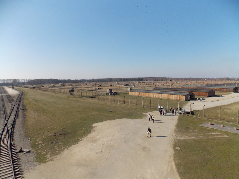 The view from the guard tower, which shows only the men's side of the Birkenau.  The death camp is located behind it.