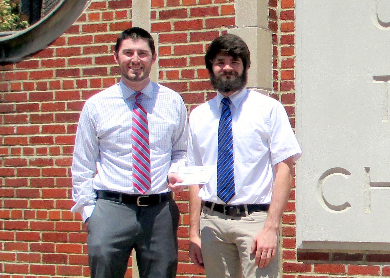 Left to right: Eddie Wade, PE, LDA Engineering, Inc., ACEC of TN Chattanooga Chapter President and  Nicholas True, National ACEC Scholarship Recipient