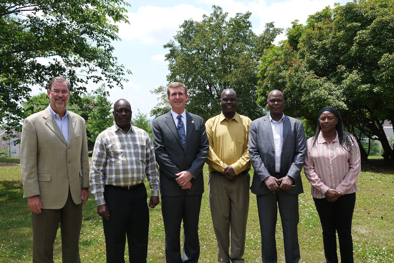 Left to right: UTC College of Business Dean Dr. Robert Dooley, Dr. David Kosgei from Moi University, UTC Chancellor Dr. Steve Angle,  Dr. Isaac Kirop from Moi University, Dr. Japheth Kogei from Moi University, and Lecturer Diane Korir from Moi University.