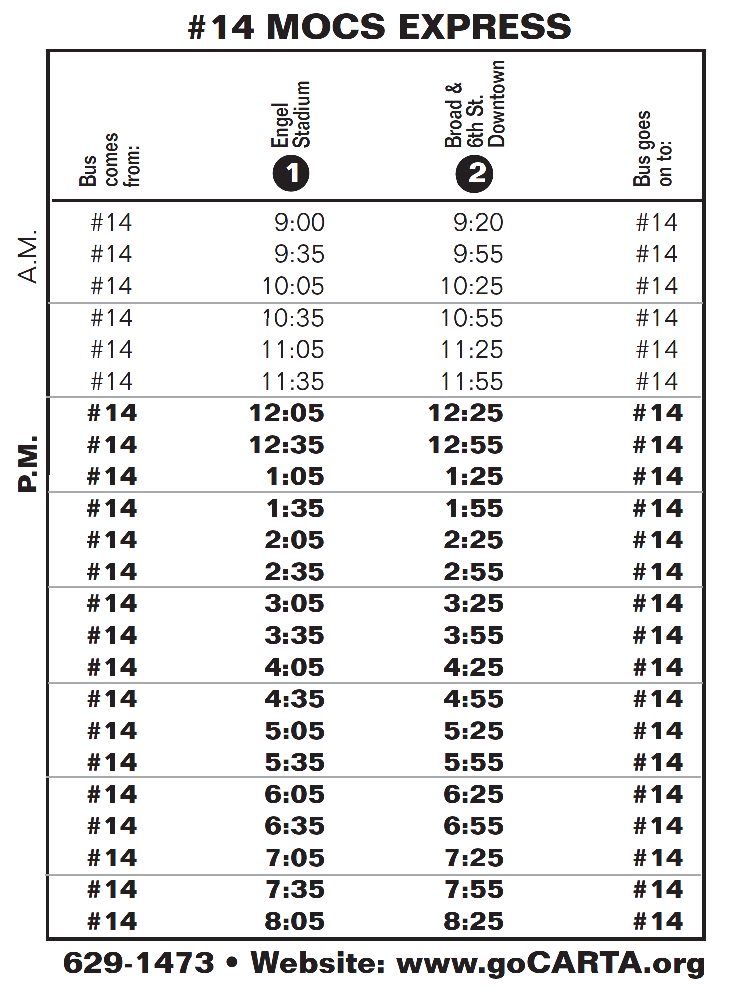 CARTA departures for Mocs Shuttle