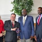 From left to right: Dr. Shari Meghreblian, TDEC Deputy Commissioner; Bob Martineau, TDEC Commissioner, Dr. Ignatius Fomunung; and Toks Omishakin, Assistant Commissioner, Tennessee Department of Transportation (TDOT)