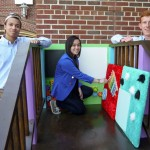 Engineering students work on project