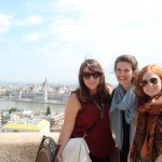 Lindsey Layman, Hayley Little, & Libby Boykin, overlooking the Danube with the Parliament Building in Budapest in the background