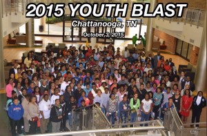 Large group photo of Youth Blast participants in the University Center 1st floor foyer