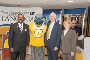Commissioner Bill Gibbons, Lori Bullard, Assistant Commissioner of Driver Services and Dr. Richard Brown, UTC Executive Vice Chancellor, and Scrappy Moc