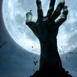 Hand rising from a grave in front of a full moon