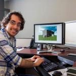Undergraduate student Jackson Stone at work at the computer