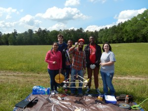 Students prior to launch of MOC1 on May 6, 2016. From left to right: Amee Patel (Grad student in Electrical Eng), Daniel Johnson (Undergraduate student in Electrical Eng), Michael Holloway (Undergraduate student in Computer Eng), Matt Joplin (Grad student in Electrical Eng), Samaa Davies (Grad student in Electrical Eng), Nichole Shelton (Undergraduate student in Electrical Eng)