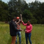 Samaa Davies, Matt Joplin, and and Amee Patel doing final systems check before releasing balloon