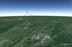 MOC1 flight path plotted using Google Earth