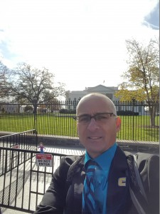 Dr. Gary Liguori taking a selfie in front of the White House