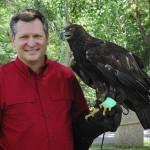 Steve Marshall posing with a golden eagle named Takota.