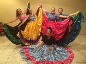 Nursing students learning Latin dances.