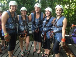 Nursing students preparing to zipline.