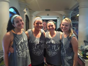 """Nursing students wearing the """"Say Yes to Adventure"""" shirts they sold to raise funds for the Costa Rica trip."""