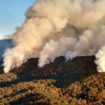 Aerial photograph of smoke rising from the 2016 Rough Ridge wildfire in Cohutta Wilderness, Georgia. Public domain image from inciweb.gov