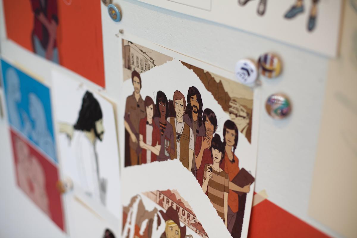 Tara Hamilton's characters printed and hung up on a wall